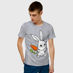Мужская хлопковая футболка с принтом Зайка с морковкой, цвет: меланж, артикул: 10043960100001 — фото 2