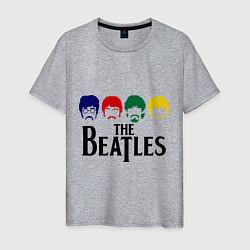 Футболка хлопковая мужская The Beatles Heads цвета меланж — фото 1