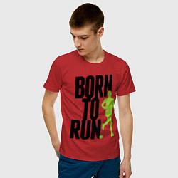 Мужская хлопковая футболка с принтом Рожден для бега, цвет: красный, артикул: 10045407600001 — фото 2