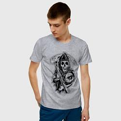 Футболка хлопковая мужская Sons Of Anarchy: Death цвета меланж — фото 2