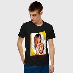 Футболка хлопковая мужская Rihanna цвета черный — фото 2