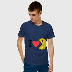 Футболка хлопковая мужская I love Packman цвета тёмно-синий — фото 2