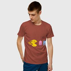 Футболка хлопковая мужская Pac-Man: Fast Eat цвета кирпичный — фото 2