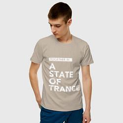 Мужская хлопковая футболка с принтом Together in A State of Trance, цвет: миндальный, артикул: 10058970800001 — фото 2