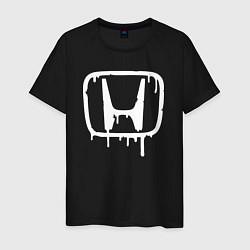 Мужская хлопковая футболка с принтом Honda, цвет: черный, артикул: 10066250600001 — фото 1
