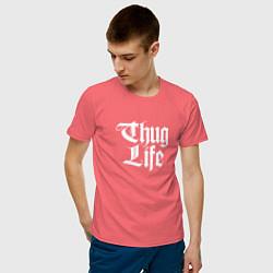 Мужская хлопковая футболка с принтом Thug Life: 2Pac, цвет: коралловый, артикул: 10068710600001 — фото 2