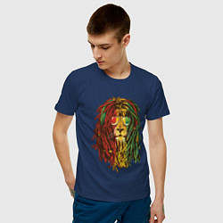 Футболка хлопковая мужская Rasta Lion цвета тёмно-синий — фото 2