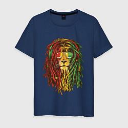 Футболка хлопковая мужская Rasta Lion цвета тёмно-синий — фото 1