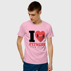 Футболка хлопковая мужская I love Fitness цвета светло-розовый — фото 2