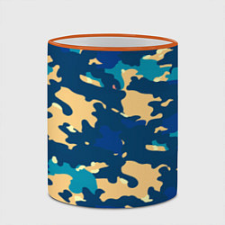 Кружка 3D Камуфляж: голубой/желтый цвета 3D-оранжевый кант — фото 2