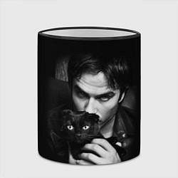 Кружка 3D Деймон Сальваторе с котом цвета 3D-черный кант — фото 2