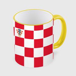 Кружка 3D Сборная Хорватии: Домашняя ЧМ-2018 цвета 3D-желтый кант — фото 1