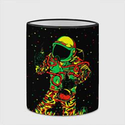 Кружка 3D Космонавт с кальяном цвета 3D-черный кант — фото 2