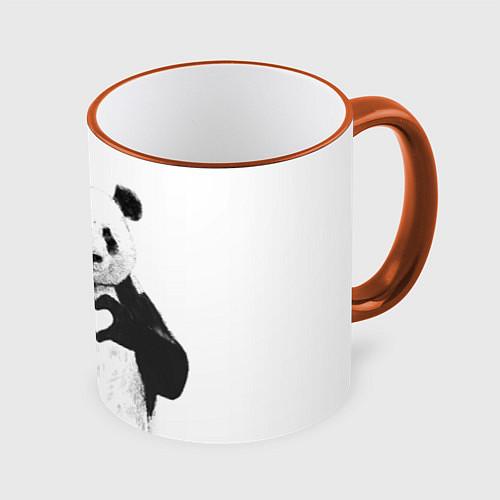Кружка цветная Panda Love / 3D-Оранжевый кант – фото 1