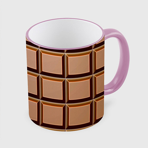 Кружка цветная Шоколад / 3D-Розовый кант – фото 1