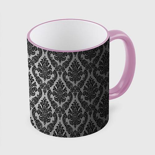 Кружка цветная Гламурный узор / 3D-Розовый кант – фото 1