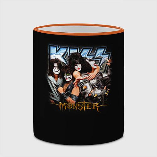Кружка цветная Kiss Monster / 3D-Оранжевый кант – фото 2