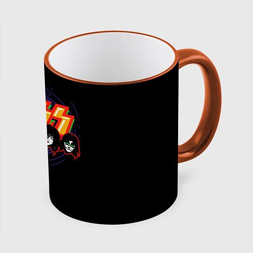 Кружка цветная KISS: Death Faces / 3D-Оранжевый кант – фото 1