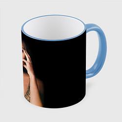 Кружка 3D Angelina Jolie цвета 3D-небесно-голубой кант — фото 1