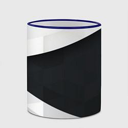 Кружка 3D Чёрно-белый цвета 3D-синий кант — фото 2