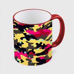 Кружка 3D Камуфляж: желтый/черный/розовый цвета 3D-красный кант — фото 1