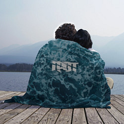 Плед флисовый Грот: Синий мрамор цвета 3D — фото 2