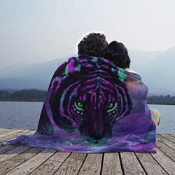 Плед флисовый Неоновый тигр цвета 3D-принт — фото 2