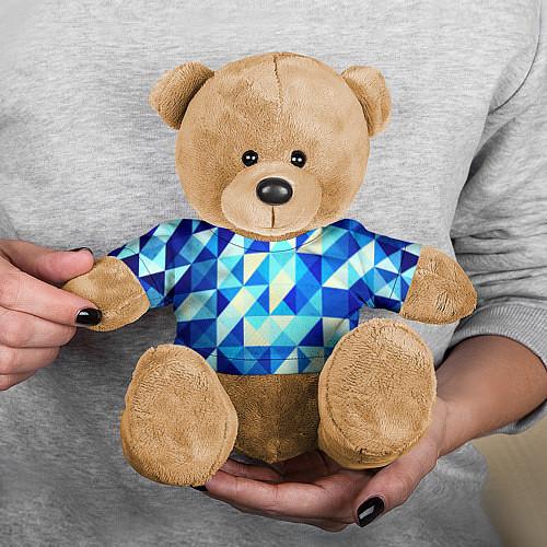 Игрушка-мишка Синяя геометрия / 3D-Коричневый – фото 3