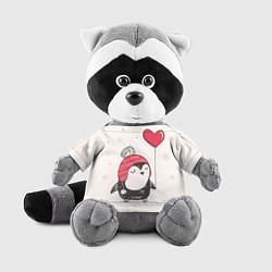 Игрушка-енот Влюбленный пингвин цвета 3D-серый — фото 1