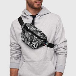 Поясная сумка Полосатая зебра цвета 3D-принт — фото 2