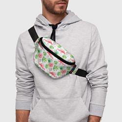Поясная сумка Фламинго в тропиках цвета 3D-принт — фото 2