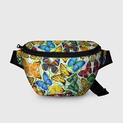 Поясная сумка Тропические бабочки цвета 3D-принт — фото 1