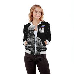 Бомбер женский Служу России цвета 3D-белый — фото 2
