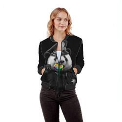 Бомбер женский Панда с карамелью цвета 3D-черный — фото 2