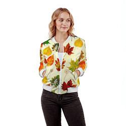Бомбер женский Осень цвета 3D-белый — фото 2