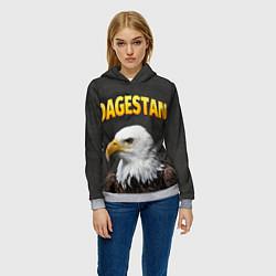 Толстовка-худи женская Dagestan Eagle цвета 3D-меланж — фото 2