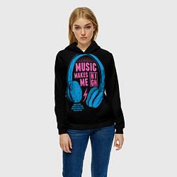 Толстовка-худи женская Музыка делает меня лучше цвета 3D-черный — фото 2