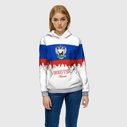 Толстовка-худи женская Irkutsk: Russia цвета 3D-меланж — фото 2