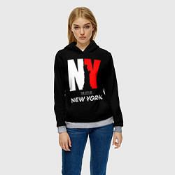 Толстовка-худи женская New York City цвета 3D-меланж — фото 2