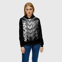 Толстовка-худи женская NISSAN цвета 3D-черный — фото 2