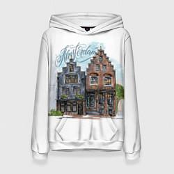 Толстовка-худи женская Амстердам цвета 3D-белый — фото 1