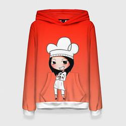 Толстовка-худи женская Повар девушка манга цвета 3D-белый — фото 1