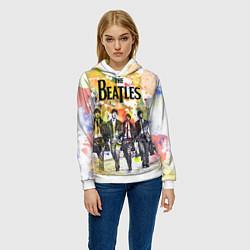 Толстовка-худи женская The Beatles: Colour Spray цвета 3D-белый — фото 2