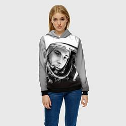 Толстовка-худи женская Юрий Гагарин цвета 3D-черный — фото 2