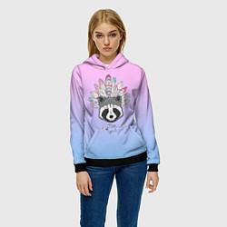 Толстовка-худи женская Raccoon: Free Spirit цвета 3D-черный — фото 2