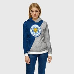 Толстовка-худи женская Leicester City FC цвета 3D-белый — фото 2