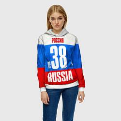 Толстовка-худи женская Russia: from 38 цвета 3D-белый — фото 2