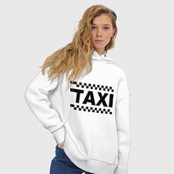 Толстовка оверсайз женская Taxi цвета белый — фото 2