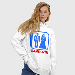 Толстовка оверсайз женская Game over цвета белый — фото 2