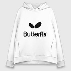 Толстовка оверсайз женская Butterfly Logo цвета белый — фото 1